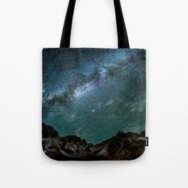 Milky Way over mountain range Tote Bag
