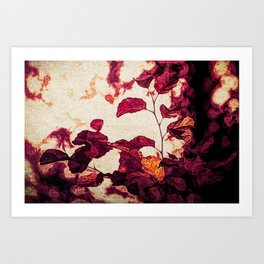 Textured red fall leaves Art Print