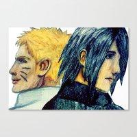 sasuke Canvas Prints featuring Naruto & Sasuke  by Aileen