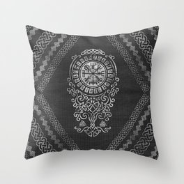 Vegvisir  with Tree of life  Yggdrasil  and Runes Throw Pillow