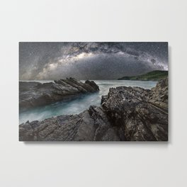 Milky Way Over the Ocean Metal Print