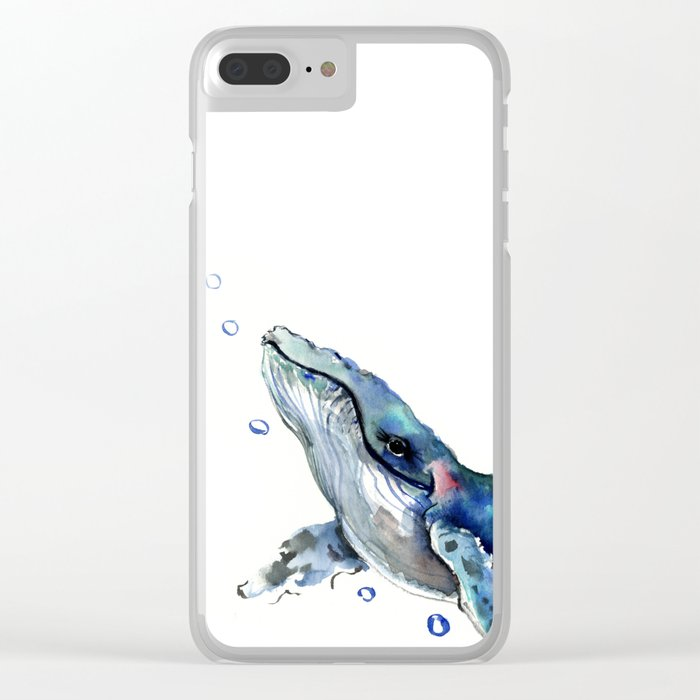 Whale Artowrk, Humpback Whale Clear iPhone Case