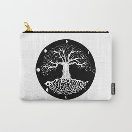 black and white tree of life with moon phases and celtic trinity knot Carry-All Pouch