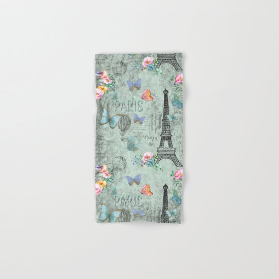 Paris - my love - Nostalgy Vintage Watercolor Illustration Hand & Bath Towel