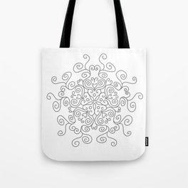 Gray Line Swirl Mandala Tote Bag