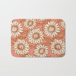 Coral Sunflowers Bath Mat