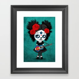 Day of the Dead Girl Playing Colorado Flag Guitar Framed Art Print
