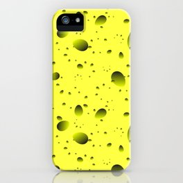 Large yellow drops and petals on a light background in nacre. iPhone Case