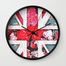 God save the Queen | Elegant girly red floral & lace Union Jack  Wall Clock
