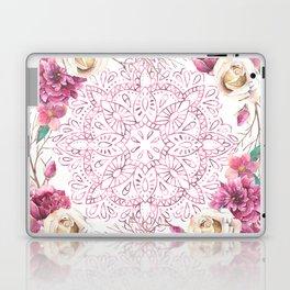 Mandala Rose Garden Pink on White Laptop & iPad Skin