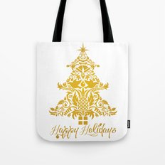Ornate Pineapple Holiday Tree Tote Bag