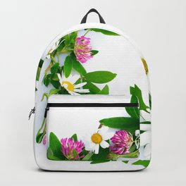 Meadow Flower Garland White Backround #decor #society6 #buyart Backpack