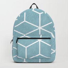 Light Blue and White - Geometric Textured Cube Design Backpack