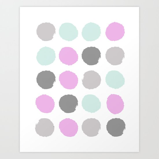 Modern pastel dots polka dots pattern basic decor for home office trendy space Art Print