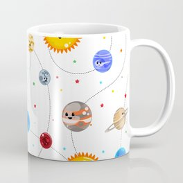 Kawaii Solar System Pattern Coffee Mug