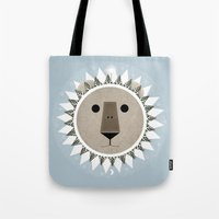 narnia Tote Bags featuring The Lion, the Witch and the Wardrobe by Rowan Stocks-Moore