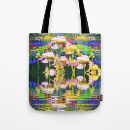 YELLOW IRIS WATER GARDEN REFLECTIONS Tote Bag
