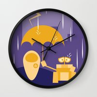 wall e Wall Clocks featuring Wall-E by Gardner Art and Design