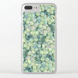 Green Grape Pattern Clear iPhone Case