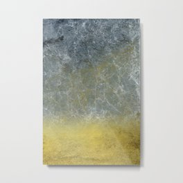 Gold Leaf Into Blue Marble Metal Print