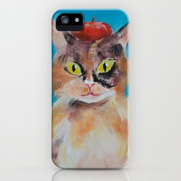 Calico Cat with Beret iPhone Case