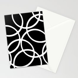 Interlocking White Circles Artistic Design Stationery Cards