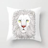 oana befort Throw Pillows featuring LION by Oana Befort
