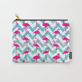 Go Flamingo! Tropical Pink Neon Flamingos Teal Glitter Chevron Carry-All Pouch