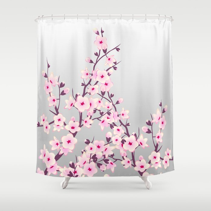 Cherry Blossoms Pink Gray Shower Curtain By Ninabaydur