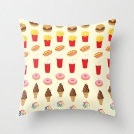 Celebration of Junk Foods Throw Pillow