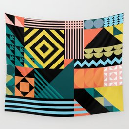 Colorful geometric patchwork pattern Wall Tapestry