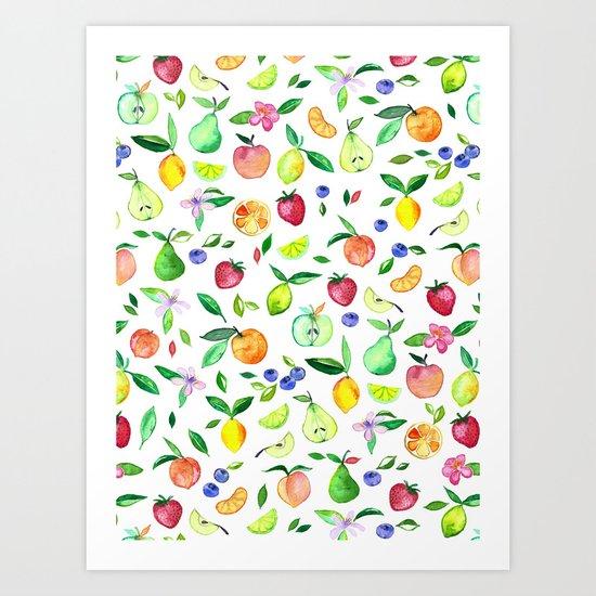Fresh Fruit - a watercolor pattern Art Print