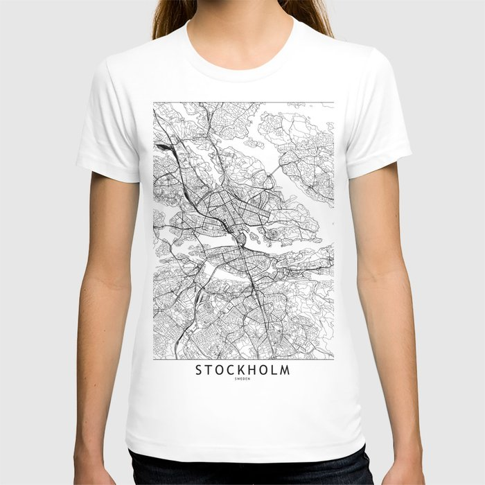 Stockholm White Map T-shirt