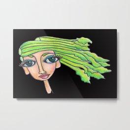 celery girl on black Metal Print