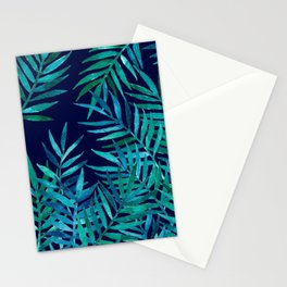 Watercolor Palm Leaves on Navy Stationery Cards