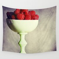 dessert Wall Tapestries featuring Raspberries for Dessert by Lawson Images