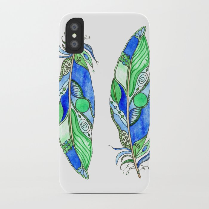 Bohemian Spirit Feathers - Blue & Green iPhone Case