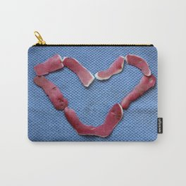 St Valentine design with potato peel on blue background Carry-All Pouch