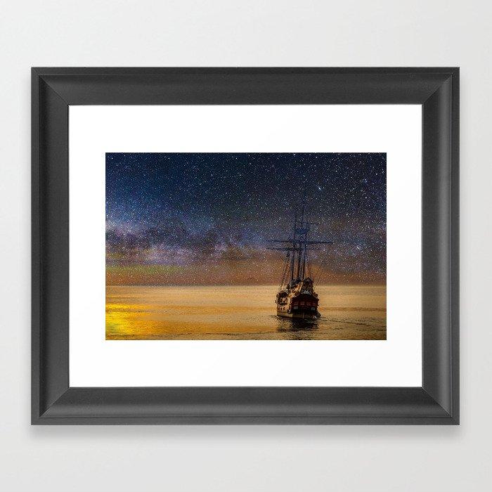 Ship Sailing Into the Starry Sky Gerahmter Kunstdruck