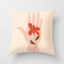 Flower on the Palm of the Hand Throw Pillow