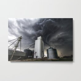 Skyscraper - Storm Over Grain Elevator in Kansas Town Metal Print