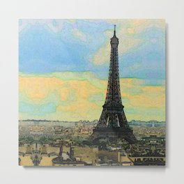 Watercolor Dream of Paris Metal Print