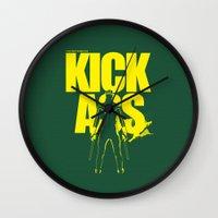 ass Wall Clocks featuring KICK ASS by justjeff