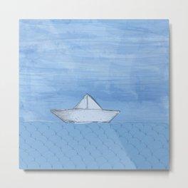 Barco de papel Metal Print