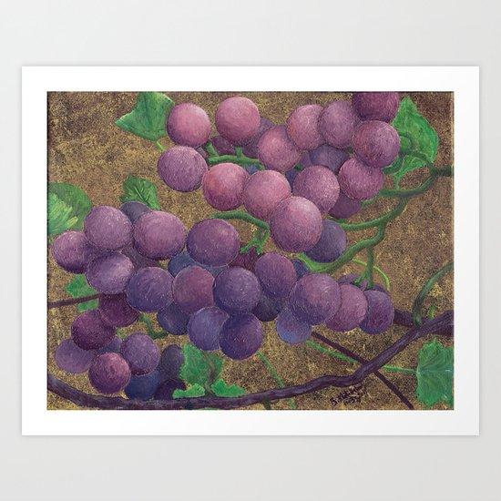 Rustic Grapes Art Print