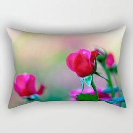 Red Rose Flowers Rectangular Pillow