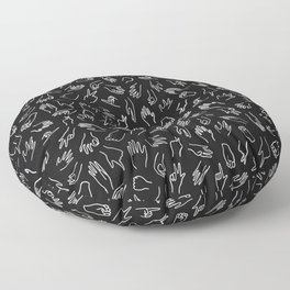 Mixed Signals Pattern in Black Floor Pillow