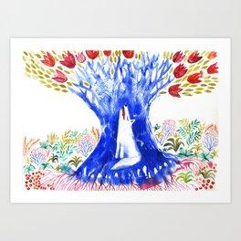 Magic Tree and Wolf Art Print