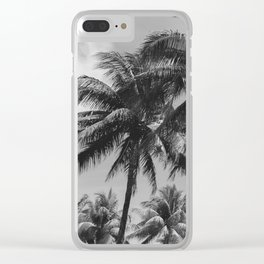 Palm Trees Black and White Photography Clear iPhone Case