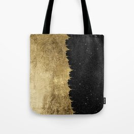 Faux Gold and Black Starry Night Brushstrokes Tote Bag